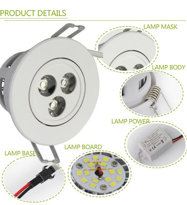 Find More LED Downlights Information about 2pcs/lot Dimmable 3w led down light white shell 85 265v 270lm recessed led ceiling spot down lamp ce rosh led downlight 3w,High Quality LED Downlights from Shenzhen MDL Technology Co.,Ltd on Aliexpress.com