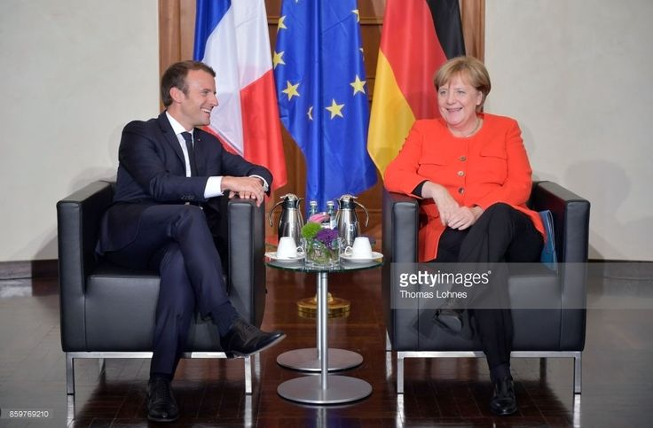 German Chancellor Angela Merkel and French President Emmanuel Macron sit down for bilateral talks while attending the opening of the Frankfurt Book Fair 2017 (Frankfurter Buchmesse) on October 10, 2017 in Frankfurt, Germany. The two leaders are known to have a good working relationship and share a number of policy views. The Frankfurt Book Fair will be open to the public from October 11-15.