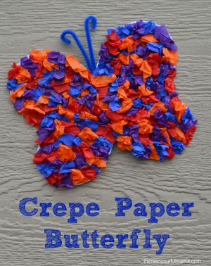 This Crepe Paper Butterfly Craft is a great spring and summertime craft for kids.