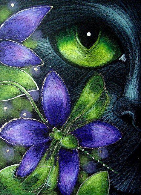 Art: BLACK CAT DRAGONFLY & FLOWERS 4 by Artist Cyra R. Cancel