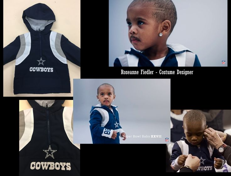 Custom toddler-sized version of a Dallas Cowboys hoodie complete with embroidered logo for the Michael Irvin baby character in the 2017 NFL Super Bowl Babies commercial.
