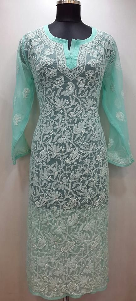Lucknowi Chikan Kurti Sea Green Faux Georgette $43.37