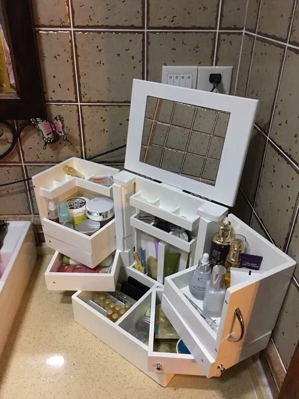 Super Large Korean Cosmetic Storage Box 90 Degree Rotating Wooden Make I Sell What I Love Cosmetic Storage Storage Box Royal Room