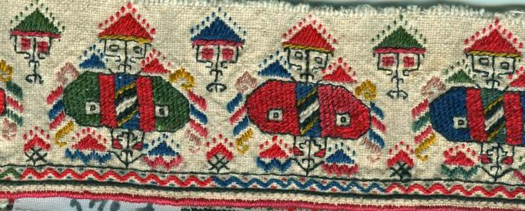 A detail on the skirt of a woman's chemise, Dupnitsa, 19th Century - http://eim-bas.com/museum.php?p=fund&f=shevizi&l=en