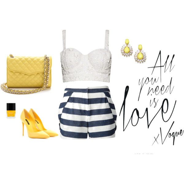 Yellow nights! by ioannaktg on Polyvore featuring Alice + Olivia, O'2nd, Dolce&Gabbana, Rebecca Minkoff and ABS by Allen Schwartz
