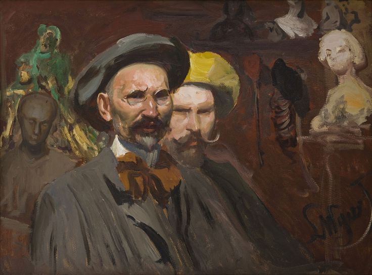 Leon Wyczółkowski, Autoportret z Konstantym Laszczką