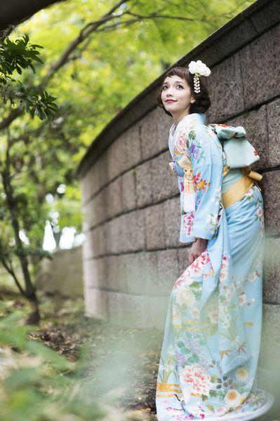 CUCURU  水色手描花宴 着物ウェディング 和婚 引き振り袖 水色