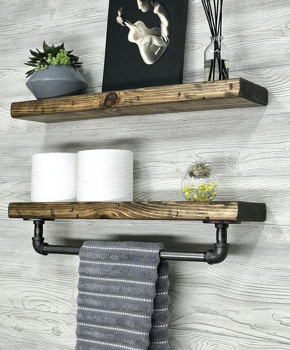 5 5 Deep Floating Shelf With Towel Bar Wood Shelf Floating