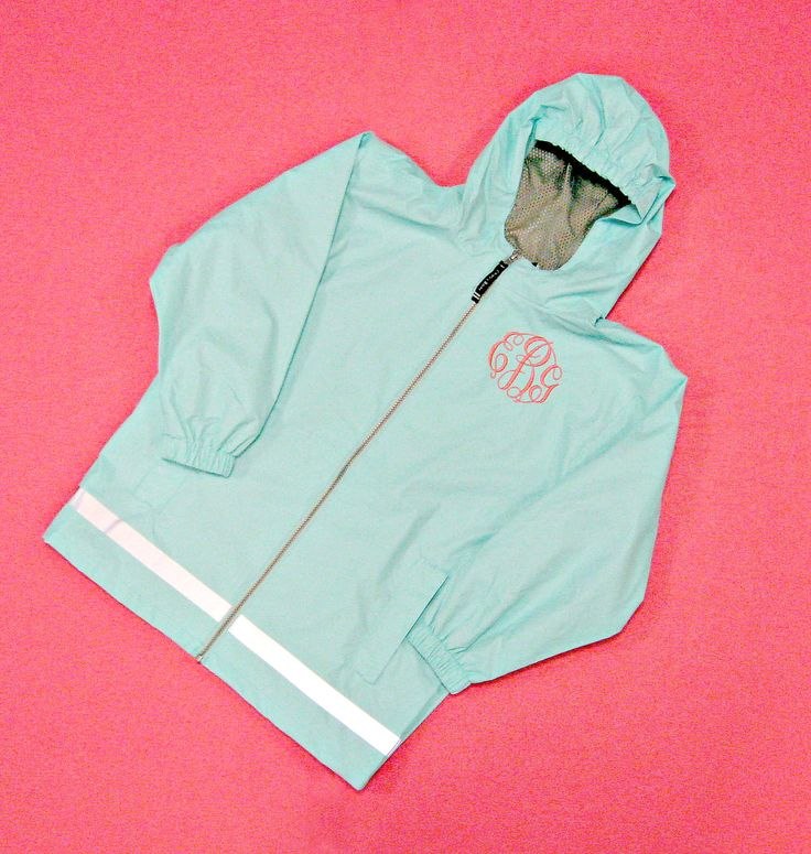 New Englander Monogrammed Rain Jacket in Youth Sizes by jansnstitches on Etsy