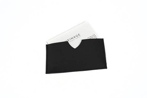 porte-carte en cuir ciré noir porte-carte de visite en cuir
