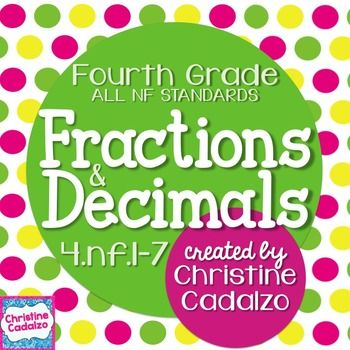 This is a complete fractions and decimals unit for teaching ALL of the Common Core fractions and decimals concepts.  It covers ALL of the fractions and decimals  standards from 4.NF.1-7, including:   4.NF.1-2: Comparing and Equivalent Fractions -comparing fractions with different denominators -comparing fractions with different numerators -explaining comparisons by writing and drawing -mixed comparison practice- different denominator or different numerator -understanding the concept of…