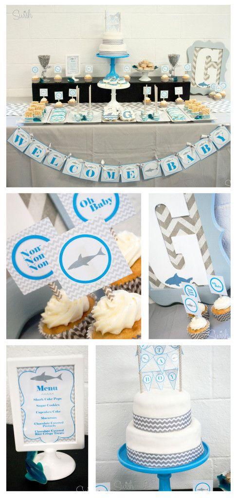 Shark Baby Shower or First Birthday Party Ideas #sharkweek