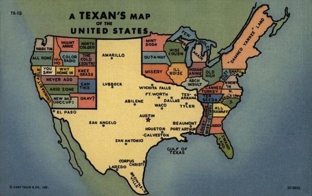 Every Texan knows that the U.S. looks like this...Postcards, God, Funny Pics, Recipe Cards, Texans Maps, Things, Texas Maps, United States, Step