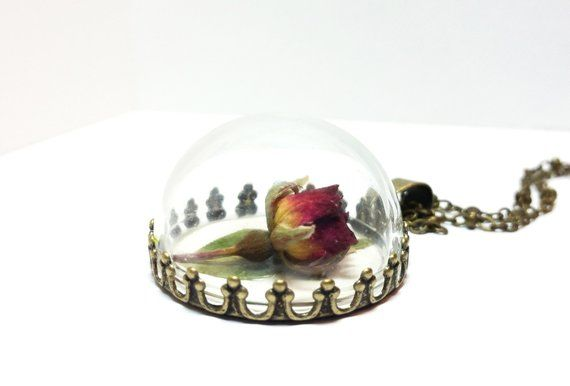 Real Rose Flower Necklace Flower Jewelry Dried Rose Etsy Bridesmaid Necklace Terrarium Necklace Rose Jewelry