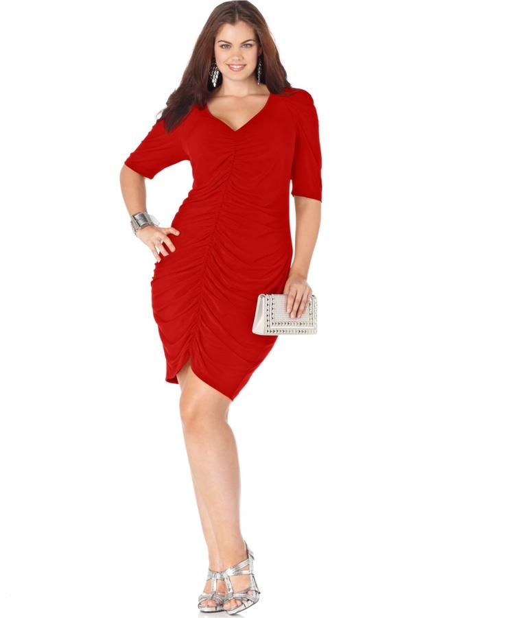 Trixxi Plus Size Dress, Elbow Sleeve Ruched – Plus Size Dresses – Plus Sizes – M…