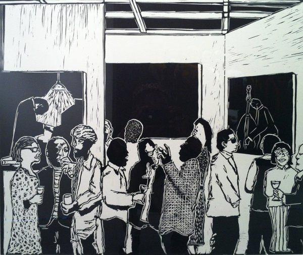 Sam Nhlengethwa The Exhibition Launch 2012 linocut