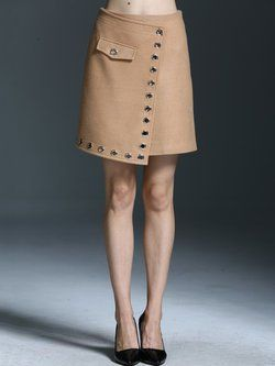 Casual Wool Blend Asymmetric Mini Skirt