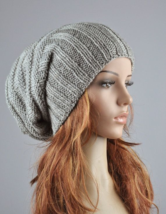 Hand knit hat  Light Grey Chunky Wool Hat slouchy hat by MaxMelody, $38.00