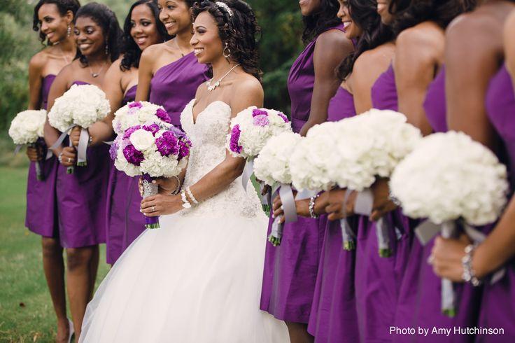 purple weddings, southern weddings, hydrangea bouquet, white bouquet, purple bridesmaid dress; purple and white bride's bouquet; black bride; bride of colour