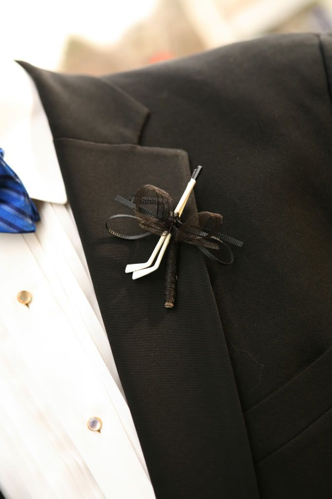 Hockey boutonniere - DIY    I made this for one of my brothers for my wedding.