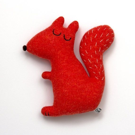 Stanley the Squirrel Lambswool Plush Toy  Made to by saracarr, $42.00