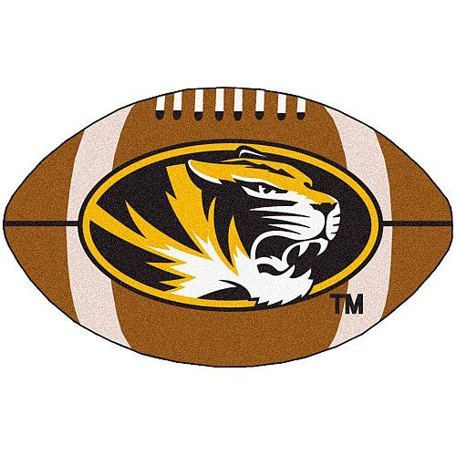 Fanmats Missouri Tigers Football-Shaped Mats  http://allstarsportsfan.com/product/fanmats-missouri-tigers-football-shaped-mats/  Nylon mat Decorated with the team logo Chromojet painted in the team colors