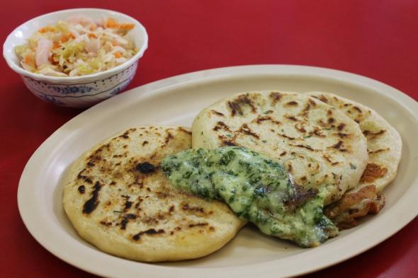 Pupusas (l to r): queso con loroco, espinaca, and ...