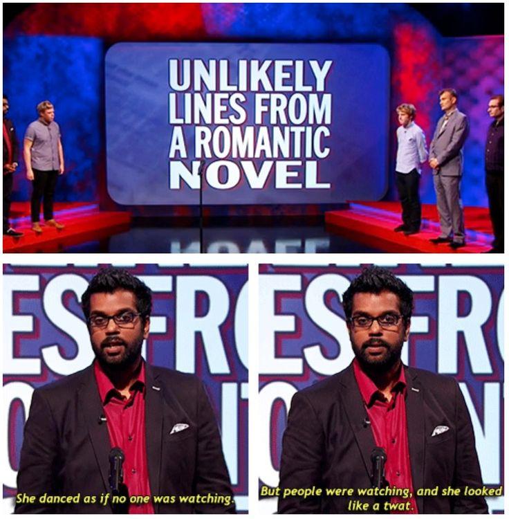 Unlikely lines from a romantic novel | Romesh Ranganathan | Mock the Week