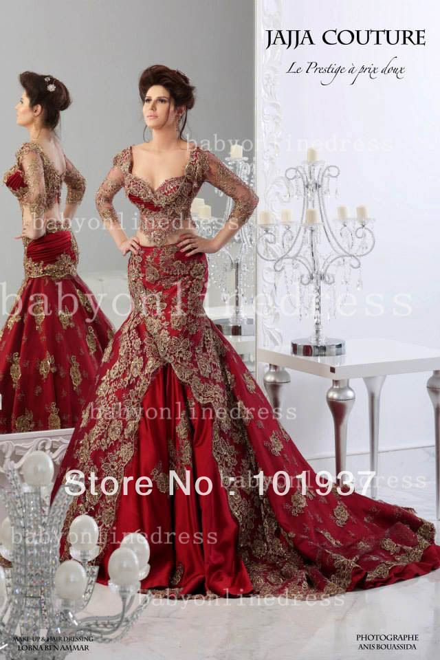 2014 New Elegant Sweetheart Red Satin Mermaid Long Train Dubai Arabic Evening Dresses With Gold Embroidery And Sleeves BO3087