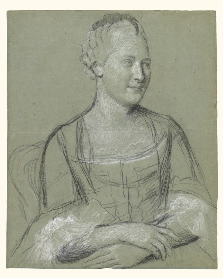 Portrait of a Woman Maker Name: Jean-Étienne Liotard (Swiss, 1702 - 1789) Type: Drawings Medium: Black, white and traces of red chalk on blue paper Date: 1758 - 1762 Source: J. Paul Getty Museum