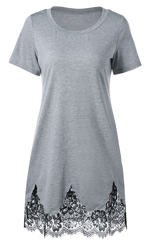 Lace Hem Scalloped Edge T-Shirt Dress