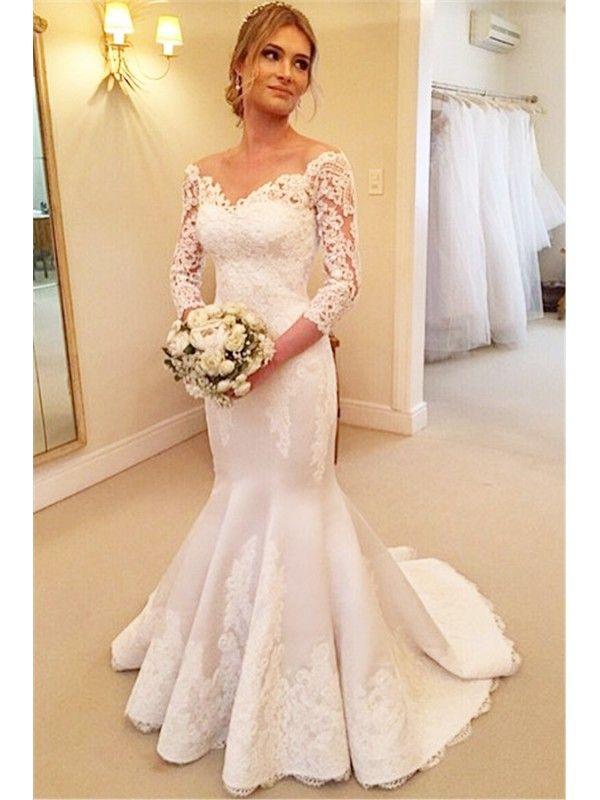 MERMAID OFF SHOULDER LONG SLEEVED LACE WEDDING DRESS
