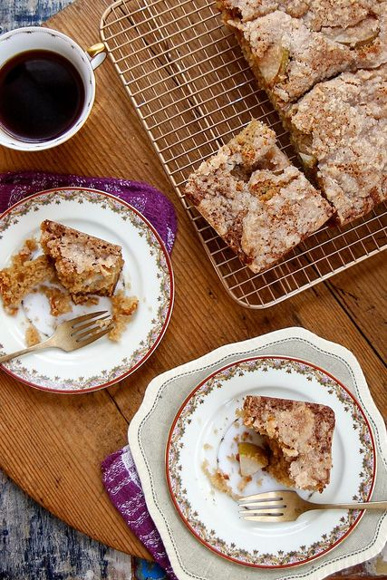 Pear Crumble Coffee Cake by joy the baker