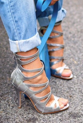 Silver strappy sandals. Shop now on shopstyle.com