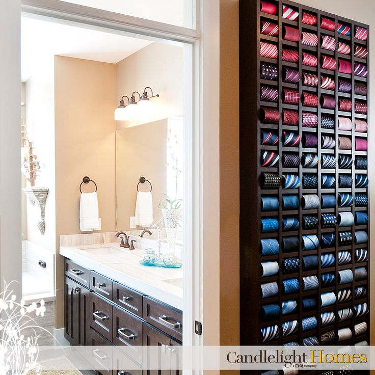 The tie organization in this spacious master suite is nothing short of amazing! Candlelight Homes. Utah Homes. Utah Builder. Home Decor. Interior Design. Walk-in Closet. Master Suite. Ties. Tie Organization. Tie Organizer. Design. Utah