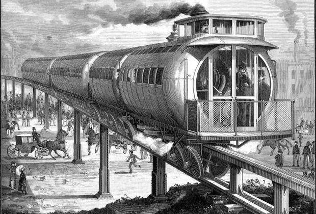 Монорельсовые системы, 1886 год Иллюстрация: Scientific American, 10 июля 1886 года Ряд монорельсовых систем остался за рамками статьи. Например, вот эта опытная линия, построенная в США в 1886 году. Ее длина составила всего 680 метров, и в 1894 году систему разобрали.