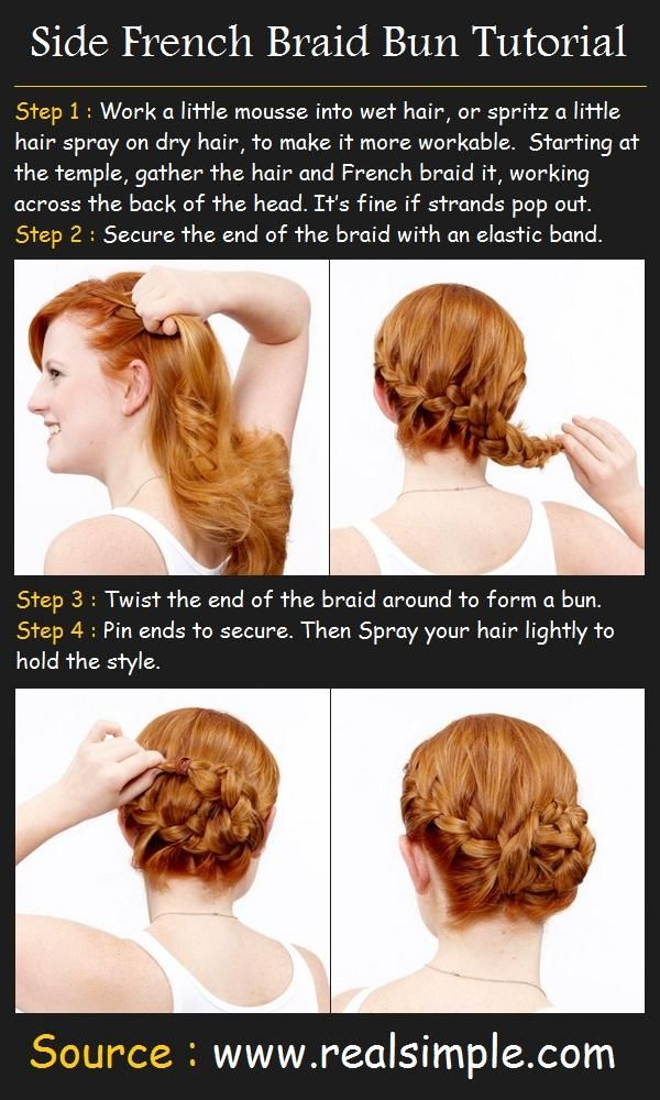 Side French Braid Bun Hairstyle - Hairstyles and Beauty Tips