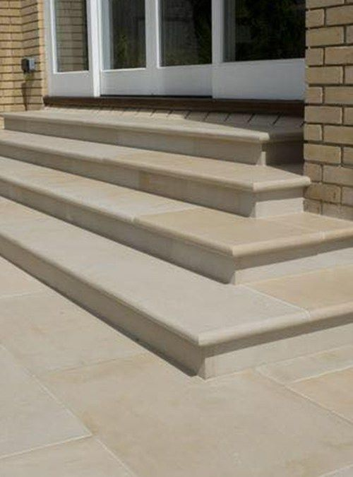 These beautiful smooth bullnose steps are ideal on their own or used with our Mint Smooth Sandstone Paving. Quality Sandstone paving from Cheshire Sandstone UK