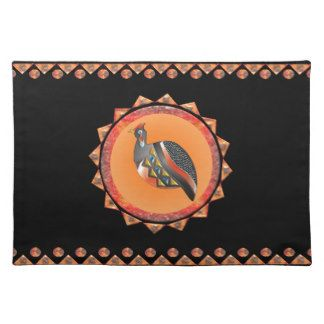 GUINEA FOWL 35 PATTERN CIRCLE BORDER CLOTH PLACEMAT