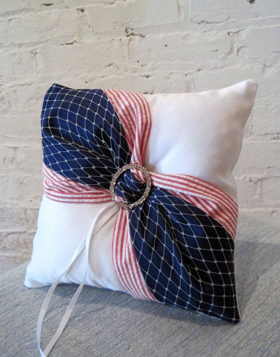American Flag Ring Bearer Pillow, Patriotic Wedding Ring Pillow, Military Wedding, Stars and Stripes, Red White and Blue USA Ring Pillow, $28.00