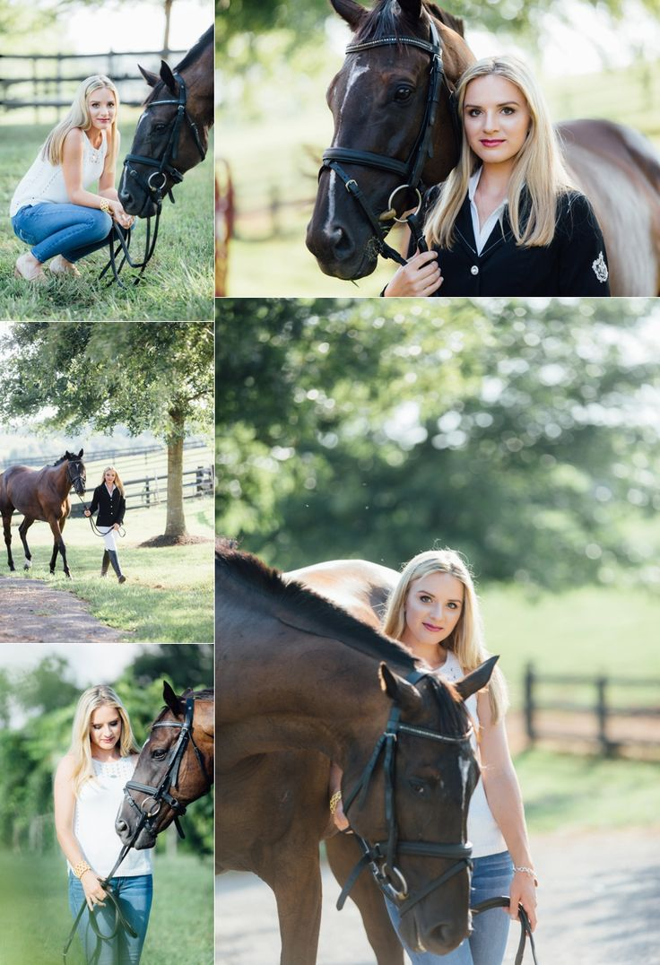Girls Senior Photo Shoot on Horse Farm with Equestrian Grace Clayton and Teen and Senior Photographer Sarah McAffry. For more senior portrait outfit ideas and poses, visit www.sarahmcaffry.com!