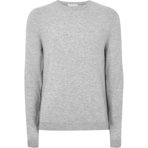 TOPMAN Light Grey Cashmere Jumper (150 BRL) ❤ liked on Polyvore featuring men's fashion, men's clothing, men's sweaters, grey, mens cashmere sweaters, mens slim fit sweaters, mens grey sweater, men's grey crew neck sweater and mens crewneck sweaters