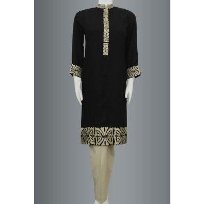 Black Embroided Linen Panel Kurti