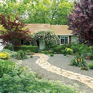 79 best images about cool yards on pinterest gardens for Easy care landscaping ideas