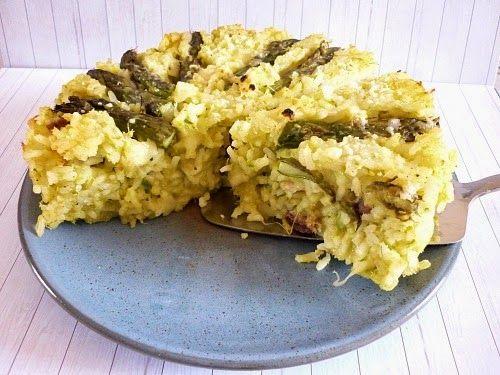 Baked rice with asparagus . Timballo di riso con asparagi