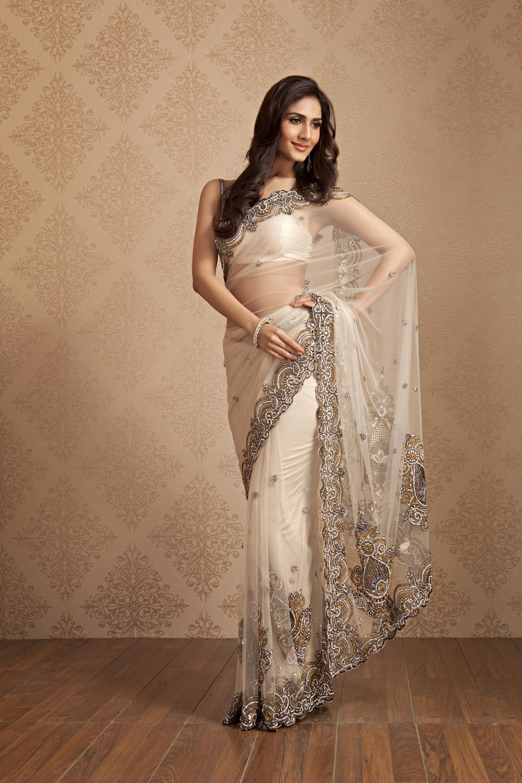 Net saree with heavy stone heand work border and big bootas on pallu