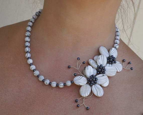 Statement Necklace Beadwork Necklace  Black and by Trendydeals, $45.50