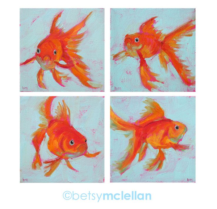 Goldfish Grouping Paper Canvas Wood by betsymclellanstudio