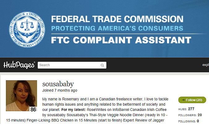 Dear Federal Trade Commission - One Woman's Fight Against Squidoo-Hubpage Injustice