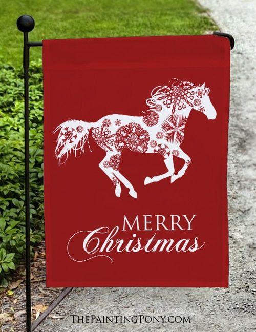 Merry Christmas Galloping Snowflake Horse Garden Flag